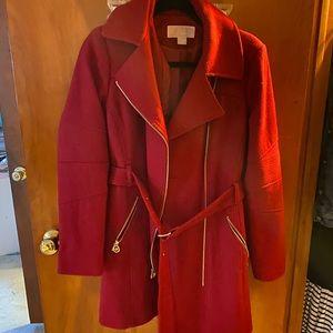 Red Michael Kors Belted Coat